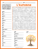 FRENCH FALL VOCABULARY Word Search Puzzle Worksheet Activity