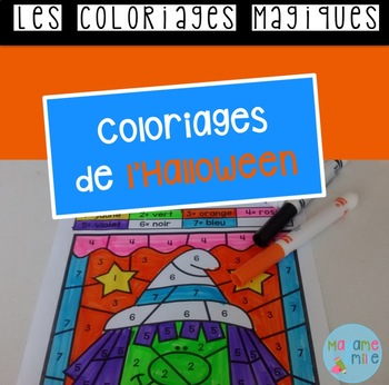 French Halloween color by code / Coloriages magiques {Halloween}