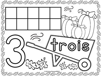 French Fall or Halloween Activity Number Activity