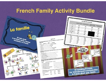 French Family Bundle (Task Cards, Family Tree, Oral Prompts, Worksheets)