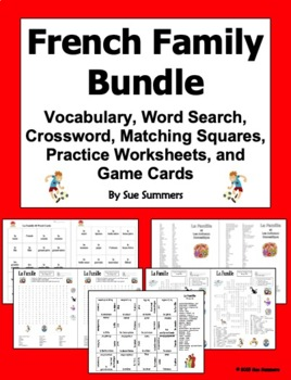 French Family Bundle of 5 - Practice  Puzzles, Vocabulary,