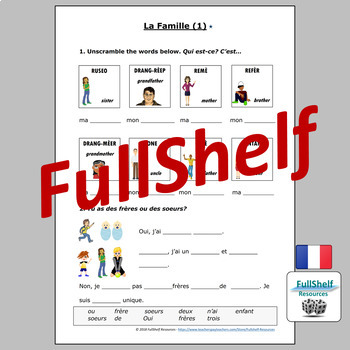 French Family (La Famille) Worksheets and Puzzles