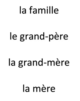 French Family Member Vocabulary Game - Pop Up