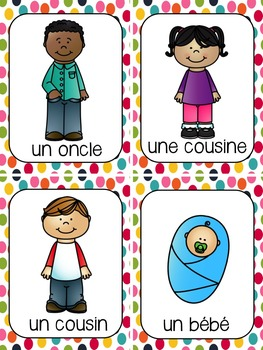 French Family Members Vocabulary Cards (membres de la famille)