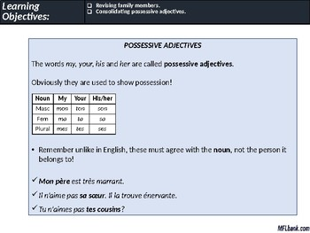 French - Family & Possessive Adjectives