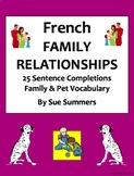 French Family Relationships - 25 Sentence Completions Worksheet - La Famille