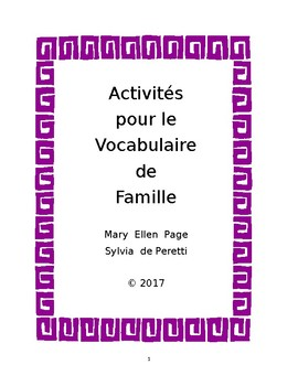 French Family Vocabulary Book