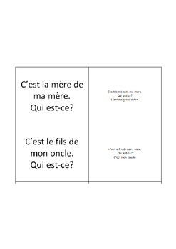 """French Family Vocabulary """"Mixer"""" Quiz Cards"""