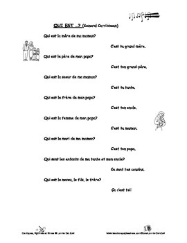 French Family Words - French rap-like Musical Chant with Exercises and Mp3