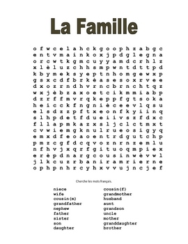 French Family Wordsearch