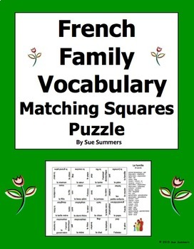 French Family and Pets Vocabulary 4 x 4 Matching Squares Puzzle