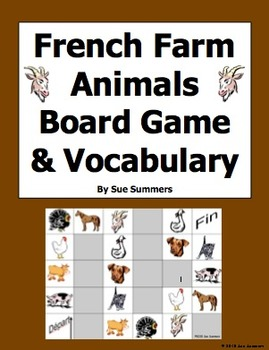 French Farm Animals Board Game and Vocabulary