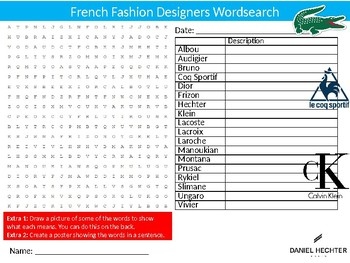 French Fashion Designers Wordsearch Sheet Activity Keywords France Design