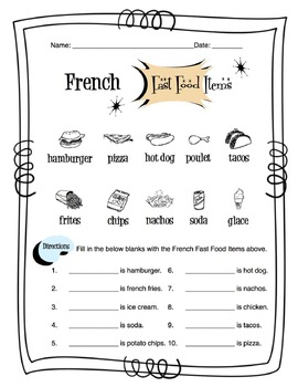 French Fast Food Items Worksheet Packet