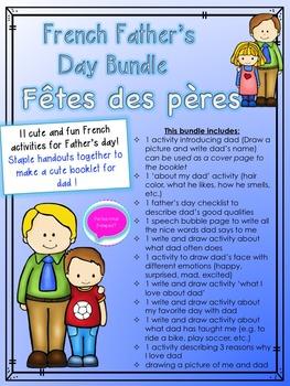 Fêtes des pères livret- French Father's day Activity Bundle