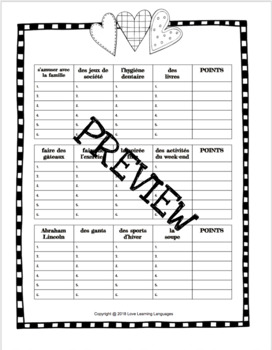 French February Scattergories Game - Février - Petit Bac