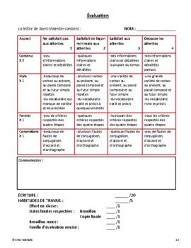 French - February Writing Activity (Valentine Letter)