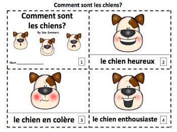 French Feelings Dogs 2 Emergent Reader Booklets - 2 Versions