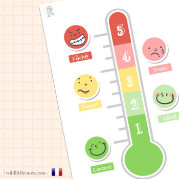 French Feelings Thermometer⎜Feelings⎜Printable Worksheets⎜Emotional development