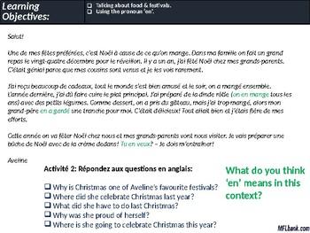French - Festivals & Food, Use of Pronoun 'En'