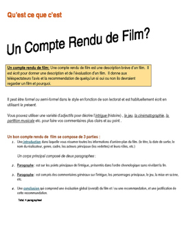 French Film Review Graphic Organizer