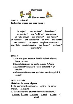 French Teaching Resources: Short Worksheet: classroom voca