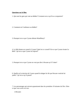 French Film/Movie Study Guide: Cyrano De Bergerac (8 Pages)