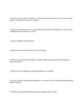 "French Film/Movie Study Guide for ""Au Revoir Les Enfants"" (8 Pages)"