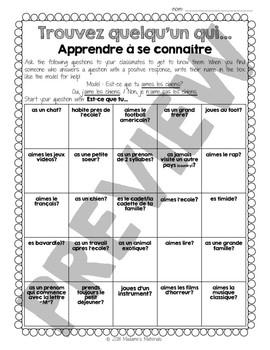 French Find Someone Who: Intros /Trouvez quelqu'un qui: Apprendre à se connaître