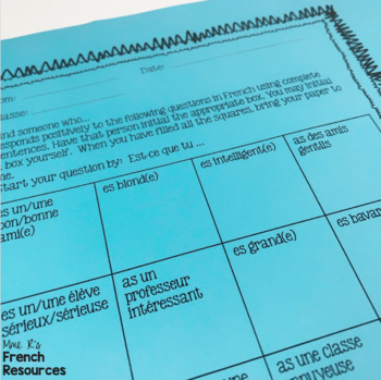 French speaking activity - Find Someone Who BUNDLE