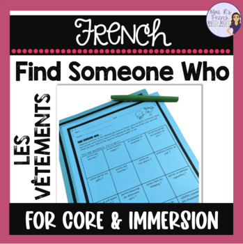 French speaking activity - French Find someone who...clothing vocabulary