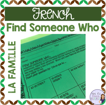 French speaking activity FIND SOMEONE WHO Family vocabulary