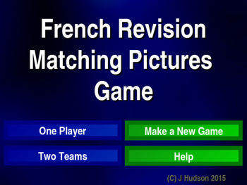 French First Year Vocabulary Interactive Matching Pairs Pictures Game