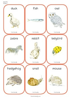 Flash Cards Les animaux Animals French English