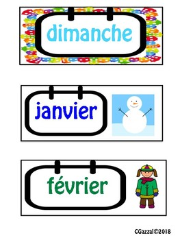 French Flash Cards and Wall Displays - dates, seasons, numbers, colors & more.