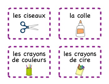 French Flash Cards or Labels - School Supplies