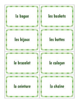French Flashcards - Les Vêtements