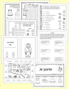 French Clothing - Les Vetements - Activities puzzles games and more