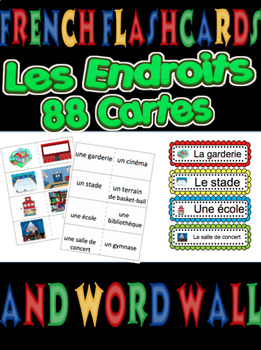 French Flashcards AND Word Wall - LES ENDROITS