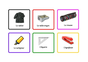 French Flashcards School Items plus some verbs and adjetives,etc