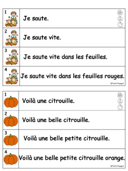 French Fluency Phrases (L'automne) Cahier interactif, fluidité, French Fall