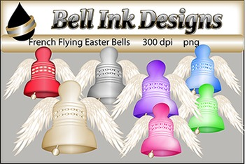 French Flying Easter Bells Clipart
