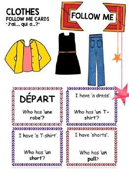 French Follow Me Cards: Clothes Les vetements