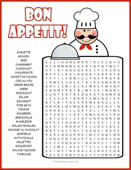 French Food Word Search Puzzle