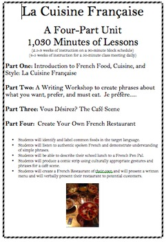 French Food: A Four-Part Unit with over 1,000 minutes of lessons