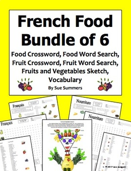 French Food Bundle of 6 - 2 Crosswords, 2 Word Searches, Sketch, and Vocabulary