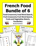 French Food Bundle - 2 Crosswords, 2 Word Searches, Sketch, and Vocabulary