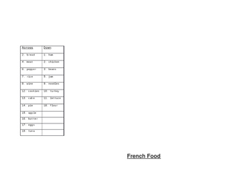 French Food Crossword