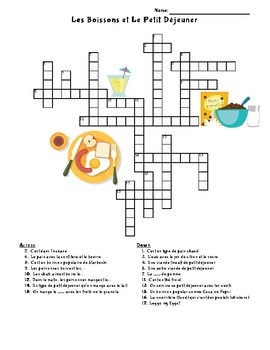 French - Food Crossword - Drinks Breakfast