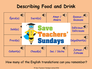 French Food, Drink and Colors Unit (6 lessons) - All lessons have AUDIO clips